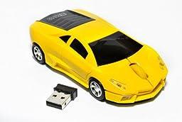 qzoxx Lamborghini Wireless Computer Mouse, Yellow (QZ036)