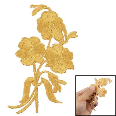Amico Gold Tone Flower Design Sticker Apparel Embroidered Patch