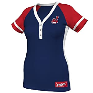 MLB Cleveland Indians Ladies Diamond Diva Fashion Top, Navy Red White by Majestic