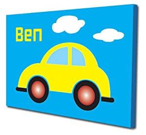 Childrens Canvas Art picture for bedroom, beetle car (personalised with name) from Artylicious