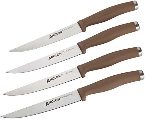 Anolon 4 Piece SureGrip Cutlery Japanese Stainless Steel Steak Knife Set, Bronze