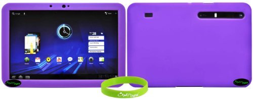CrazyOnDigital Purple Soft Gel Silicone Skin Case for the Motorola Xoom Android Tablet