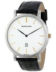 Romanson Men's TL5507MX1CBS1B Classic Analog Swiss-Quartz Black Watch