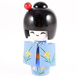 お土産こけし 日本の着物こけしドール おもちゃ 伝統デザイン 華やかな彩り 原木 青色 デコ