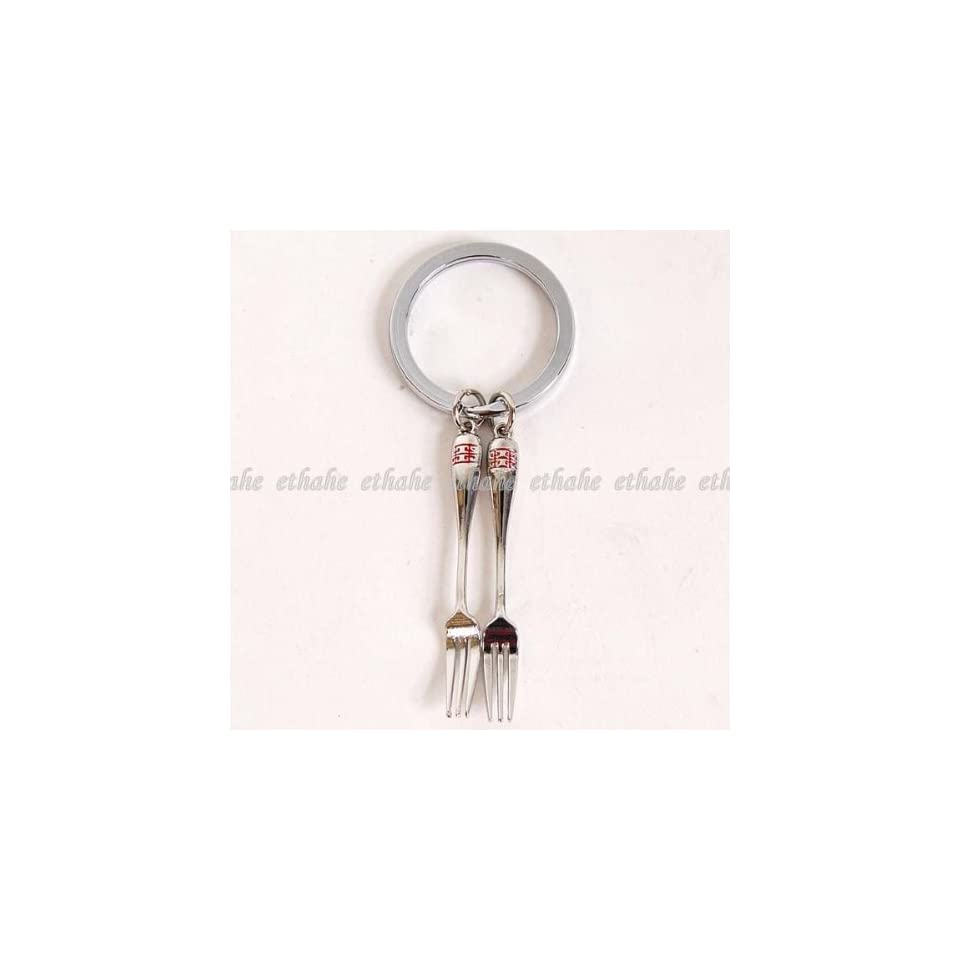 Two Forks Metal Mini Key Ring Chain Keyring Silver