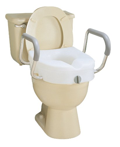 Carex E Z Lock Raised Toilet Seat With Arms New Free