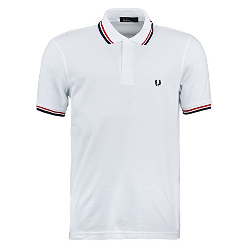 Fred Perry Twin Tipped Polo Slim Fit M3600 Weiß (White / Red / Navy) L