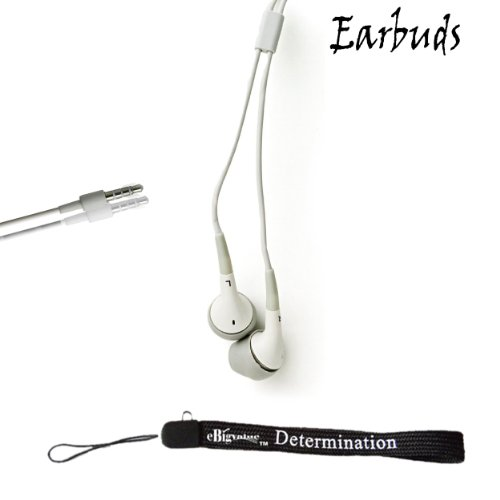 Ebigvalue: White Crystal Clear High Quality Hd Noise Filter Ear Buds Earphones Headphones (3.5Mm Jack) + Includes An Ebigvalue Tm Determination Hand Strap