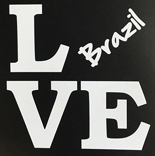 "CMI670 Love Brazil 5"" x 5"" - Vinyl Die Cut Decal/ Bumper Sticker For Windows, Cars, Trucks, Laptops, Etc. | Premium Quality White Vinyl Decal"
