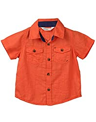 Beebay Infant-boy 100% Cotton Woven Orange Slub Shirt (C4916127901725_Orange_6-12 Months)