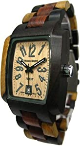 Tense Mutlicolored Solid Wood Mens Watch Rectagular Hypoallergenic J8102IDM from Tense