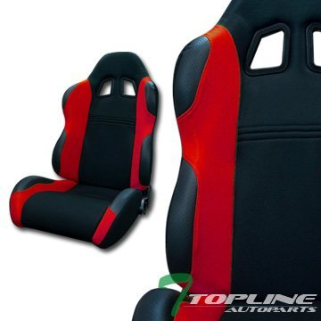 Topline Autopart TS Sport Black Red Cloth Fabric Car Reclinable Racing Bucket Seats Sliders L+R T01 (Camaro Ss Racing Seats compare prices)
