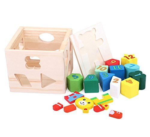 MOLITONG Shape Sorting Number and Color Learning Cube Block Box Toy