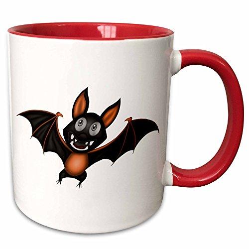 3dRose Anne Marie Baugh - Halloween - Cute Orange and Black Halloween Bat Illustration - 11oz Two-Tone Red Mug (Cute Halloween Pic)