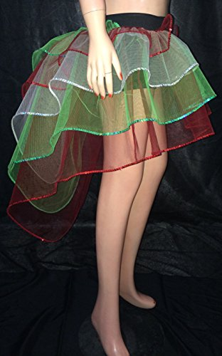 Red Green White Sequin Tone Peacock Bustle Tutu Skirt Christmas Fancy Costumes