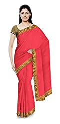 Sonani Women's Georgette Disigner Paety Wear Sarees with Blouse Piece (Pink)