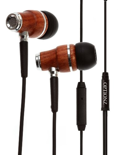 Optionz® Premium 3.5Mm Natural Genuine Wood In-Ear Noise-Isolating Headphones With Mic (Brown)