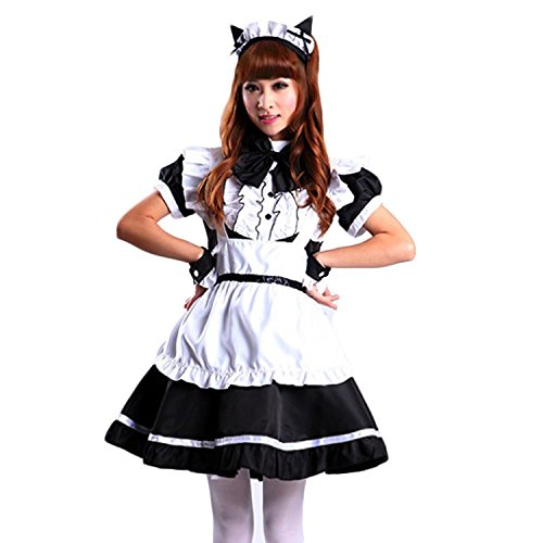 VSVO Women's Cat Ear French Maid Cosplay Dress Halloween Costume