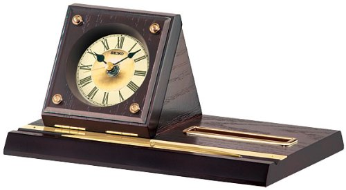 Seiko Desk and Table Clock Wooden Case; Name Card Holder and Pen Included