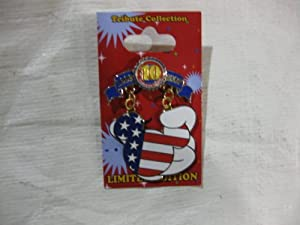 Disney Pin 10 Year Anniversary of Pin Trading 1999-2009 American Flag Dangle Limited Edition of 1000