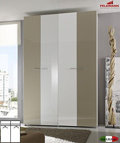 Kleiderschrank Schlafzimmerschrank 55030 4-türig weiß / sand Hochglanz 159cm