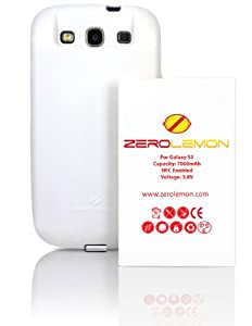 ZeroLemon Samsung Galaxy S III 7000mAh Extended Battery + Free White Extended TPU Full Edge Protection Case(Compatible with Samsung Galaxy S III GT-i9300, AT&T Samsung Galaxy S3 Samsung i747, Verizon Samsung Galaxy S3 Samsung i535, T-mobile Samsung Galaxy S3 Samsung T999, U.S. Cellular Samsung Galaxy S3 R530, and Sprint Samsung Galaxy S3 Samsung L710) ***NFC for S Beam and Google Wallet*** (180 Days ZeroLemon Guarantee Warranty) - WORLD'S HIGHEST S3 Battery Capacity - White