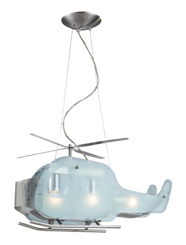 Elk 5056/3 3-Light Helicopter Shaped Pendant In Satin Nickel