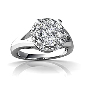 14K White Gold White Diamond Ring Size 7