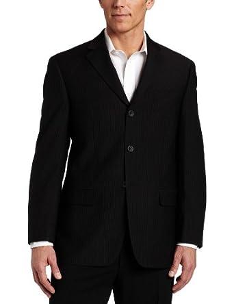 Geoffrey Beene Mens Black Stripe Suit Separate Coat,  Black Stripe, 38 S