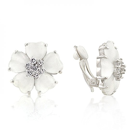 White Flower Nouveau Clip Earrings