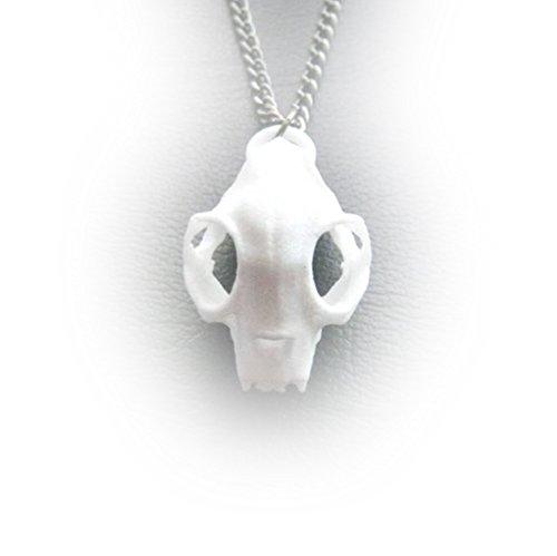 """Rogue e il lupo """", motivo: teschio con gatto in 3D, colore: bianco, motivo: Gothic jewellery"""