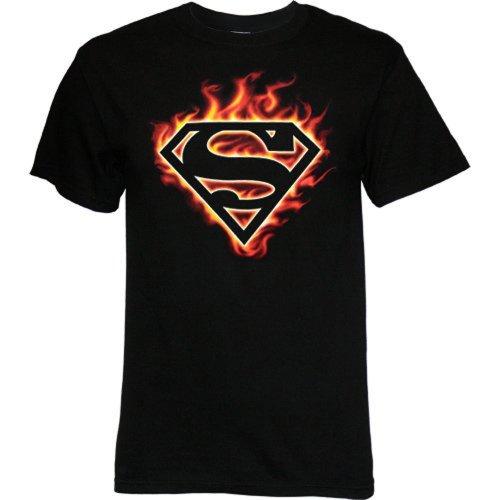 Superman Flame Logo Men's T-Shirt, X-Large (Superman T Shirt Emblem compare prices)