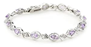 """Sterling Silver Diamond Accent and Amethyst Oval Link Bracelet, 7.25"""""""