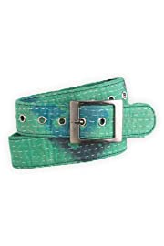 World Finds Fair Trade Recycled Kantha Belt (Blues/Greens)