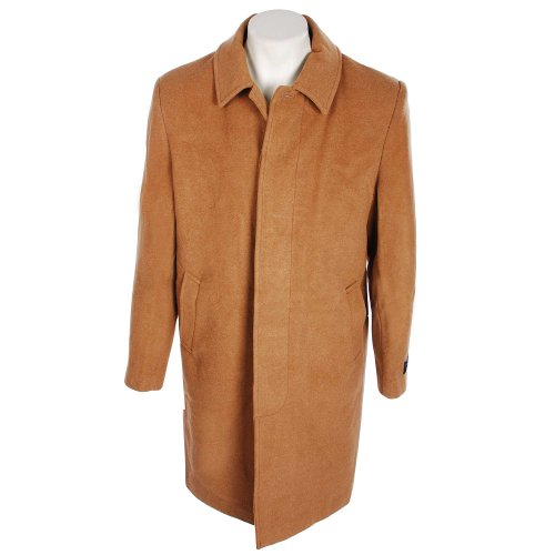 Thomas Brooks Mens Camel Overcoat in Luxury Italian Fabric with Wool and Cashmere in Size Small