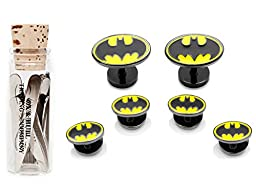 Enamel Batman Tuxedo Stud Set with 12 Complimentary Collar Stays