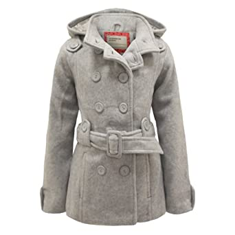 ENVY BOUTIQUE GIRLS KIDS BELTED HOODED DOUBLE BREASTED FLEECE COAT LIGHT GREY YEARS 13