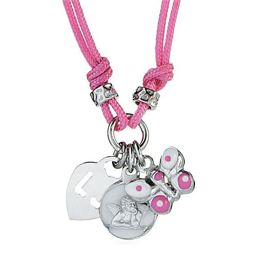 Liu-Jo Child's Necklace in White/Pink Silver/Cotton, form Butterfly and angel, line Junior and baby, weight 4 grams