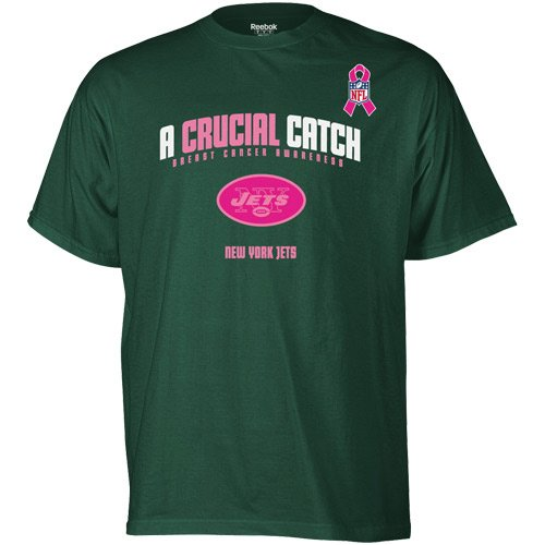 Reebok New York Jets Breast Cancer Awareness The Crucial Catch T-Shirt Large at Amazon.com