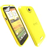 Transparent Gel Case Cover Shell And Screen Protector For HTC One X One X+ / Yellow