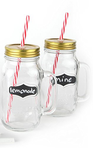 Chalkboard Large Mason Jar Mugs with Handle, Tin Lid, Plastic Straws and Chalk. 24 Oz. Each. Old Fashion Drinking Glasses - Pack of 2. By Lily's Home (Mason Jar Mugs Chalkboard compare prices)