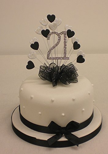 cake-topper-burst-spray-diamante-21st-birthday-black-white-glitter-hearts-with-ribbon-by-the-cake-em