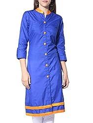Femeie Women's Cotton Kurta (BLUE_Yellow)