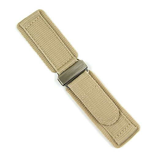 24mm Khaki Double Layer Nylon Velcro Watch Band for Bell & Ross BR01 BR03 with Stainless Steel Buckle LARGE