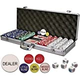 ChipsAndGames Premium Set of 500 11.5 gr Card Suited Poker Chips w/6 Dealer Buttons & Poker Dice