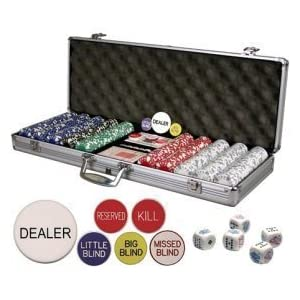 Da Vinci Premium Set Poker Set with Card-Suited Poker Chips, 6 Dealer Buttons, Cards, & Dice Picture