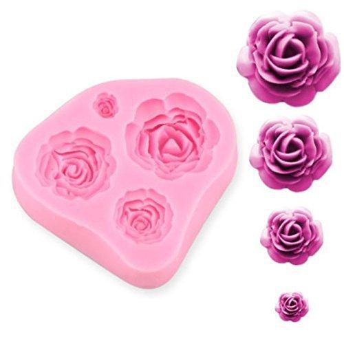 4 Taille Roses Fleur Silicone Moule chocolat Sugarcraft Décoration Fondant Fimo Cadeau Outil