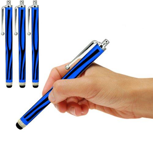 Samsung I9190 Galaxy S4 mini Dual Sime Zebra Aluminium kapazitiven Stylus Touch Pen (3 Pack) von Spyrox (Schwarz und Blau) von Spyrox
