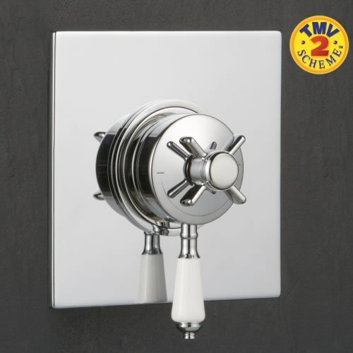 Traditional Bathroom Dual Exposed Thermostatic Shower Valve Square Back Plate Chrome Finish