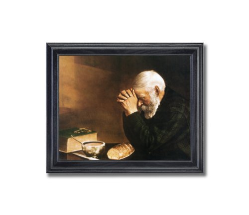 Framed Picture Praying Wall Grace Religious Dinner Print Christian Art Table